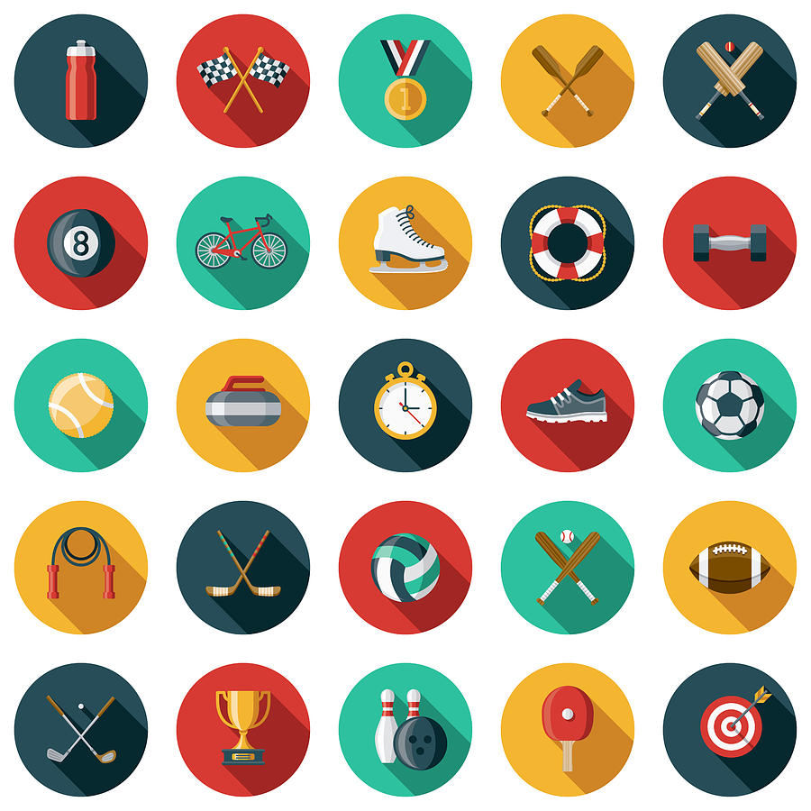 Sports Flat Design Icon Set with Side Shadow Drawing by Bortonia