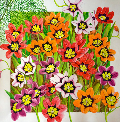 Flower Painting - Spot The Bee by Sonali Sengupta