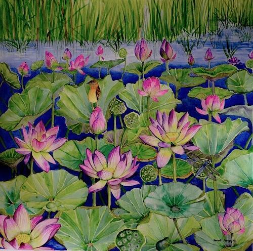 Nature Painting - Spot The Dragonfly by Sonali Sengupta