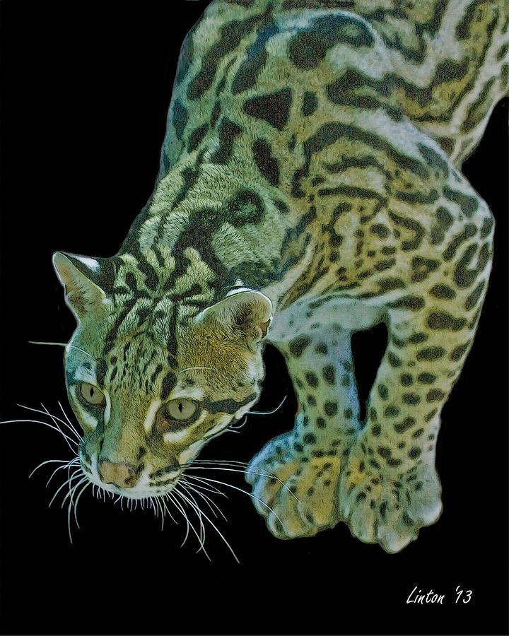 Ocelot Digital Art - Spotted Predator by Larry Linton