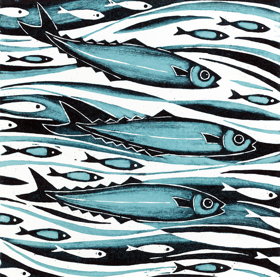Swimming Painting - Sprats by Nat Morley