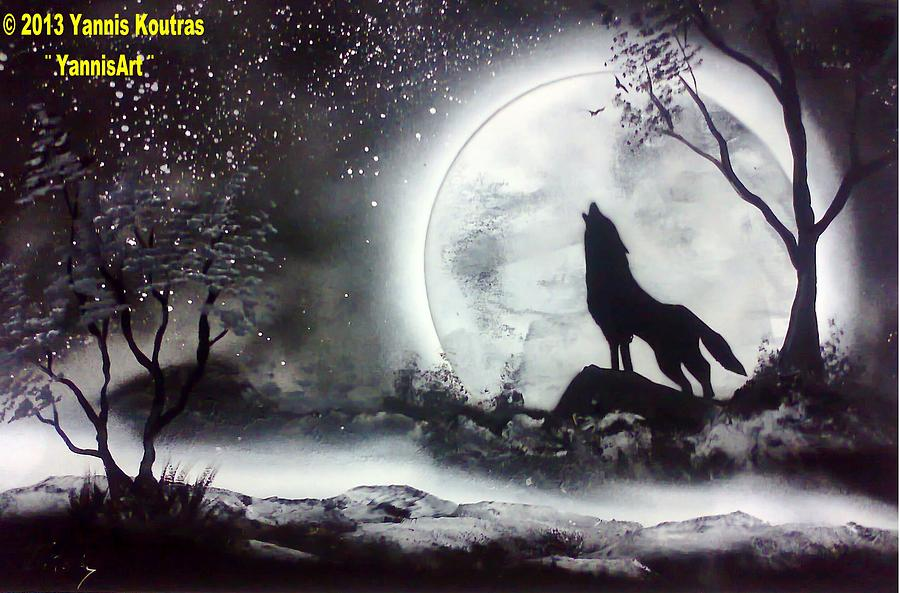 Spray Paint Art Wolf Black And White Painting By Yannis