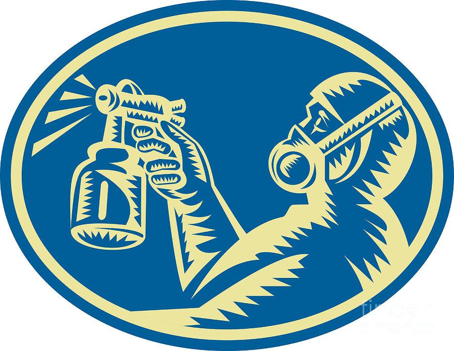 Spray Painter Digital Art - Spray Painter Spraying Gun Retro by Aloysius Patrimonio