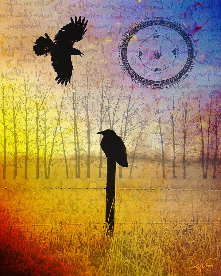 Crow Digital Art - Spread The Word by Judy Wood