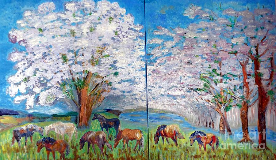 Spring Landscape Painting - Spring And Horses by Vicky Tarcau