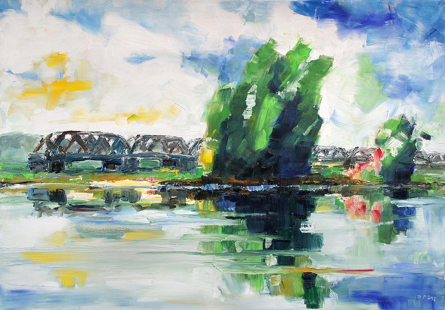 Landscape Painting - Spring At River Elbe Near Doemitz Germany by Barbara Pommerenke