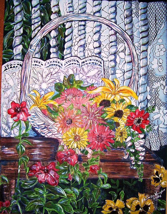 Flower Basket Painting - Spring Basket by Linda Vaughon