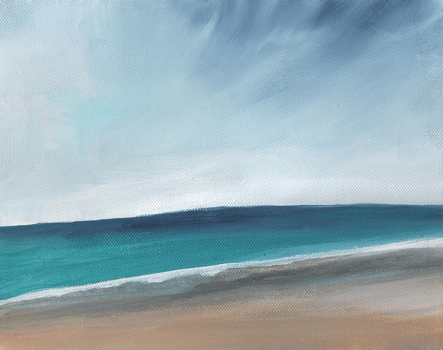 Beach Painting - Spring Beach- Contemporary Abstract Landscape by Linda Woods