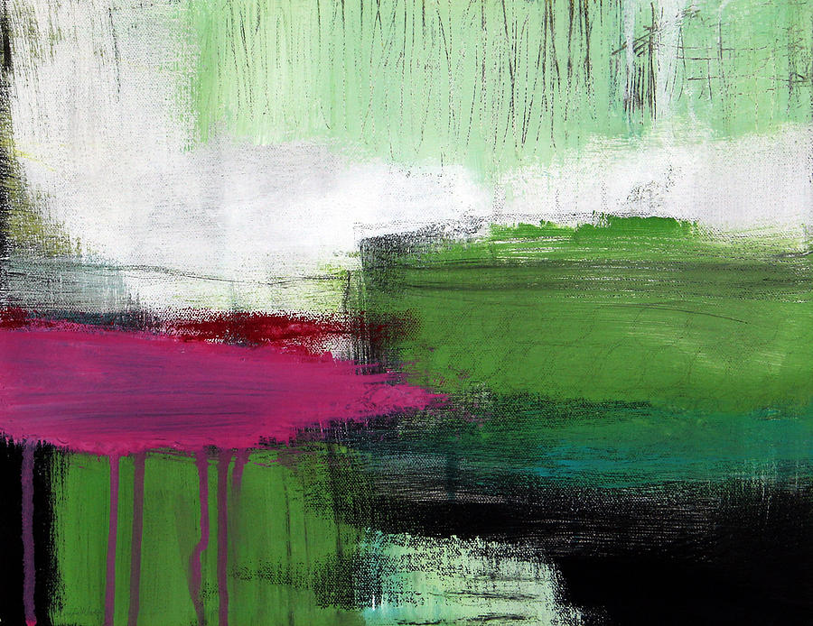 Green Abstract Painting Painting - Spring Became Summer- Abstract Painting  by Linda Woods