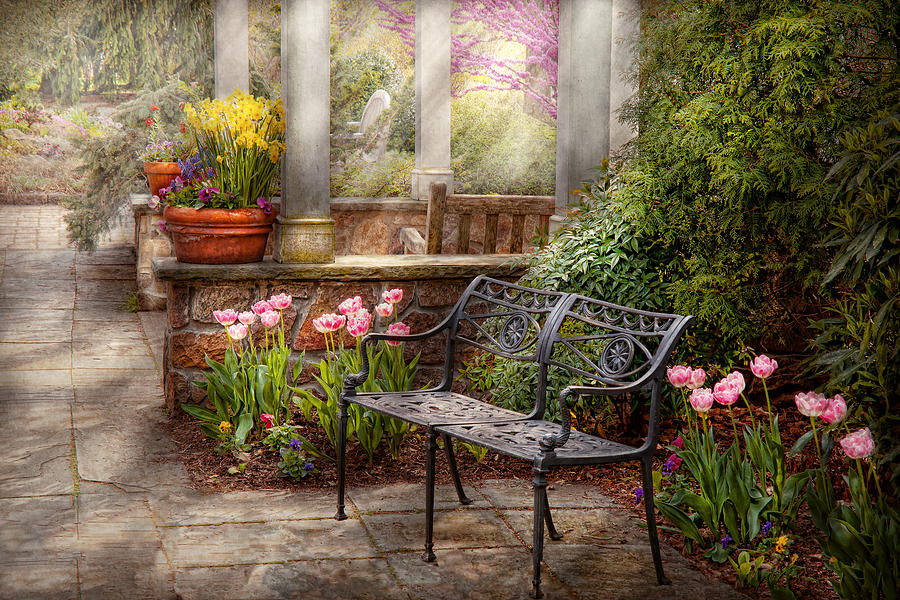 Spring Photograph - Spring - Bench - A Place To Retire  by Mike Savad