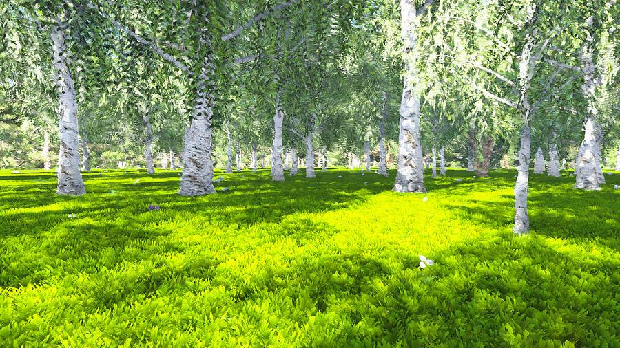 Birch Digital Art - Spring birch by Marina Likholat