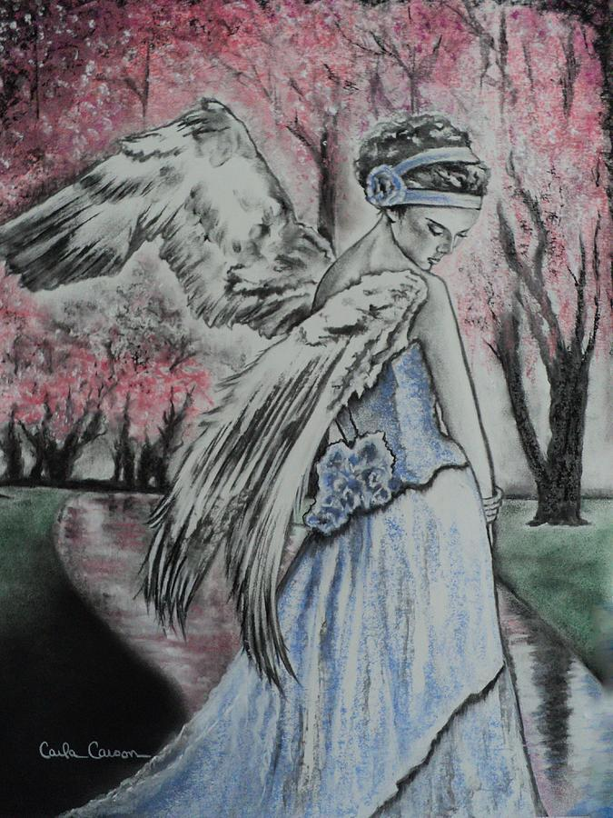 Angel Drawing - Spring Blossom Angel by Carla Carson