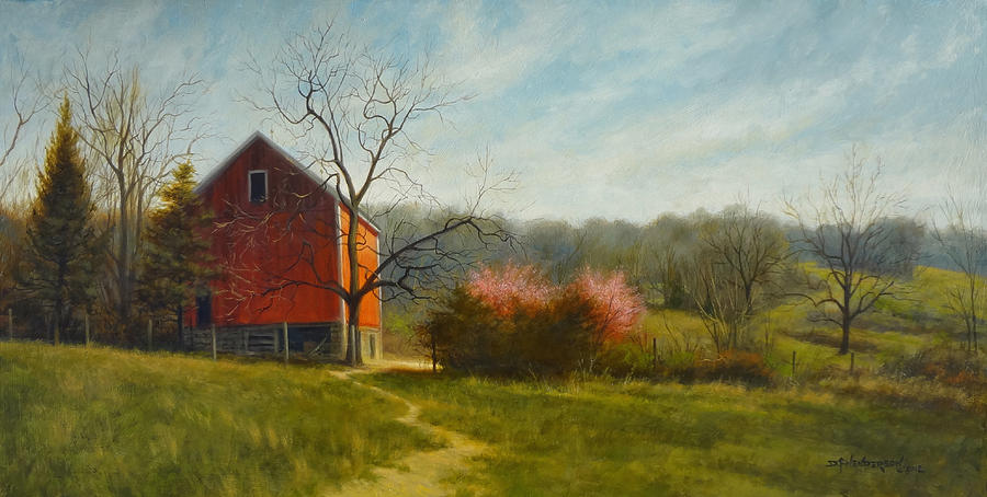 Barn Painting - Spring Blossoms by David Henderson