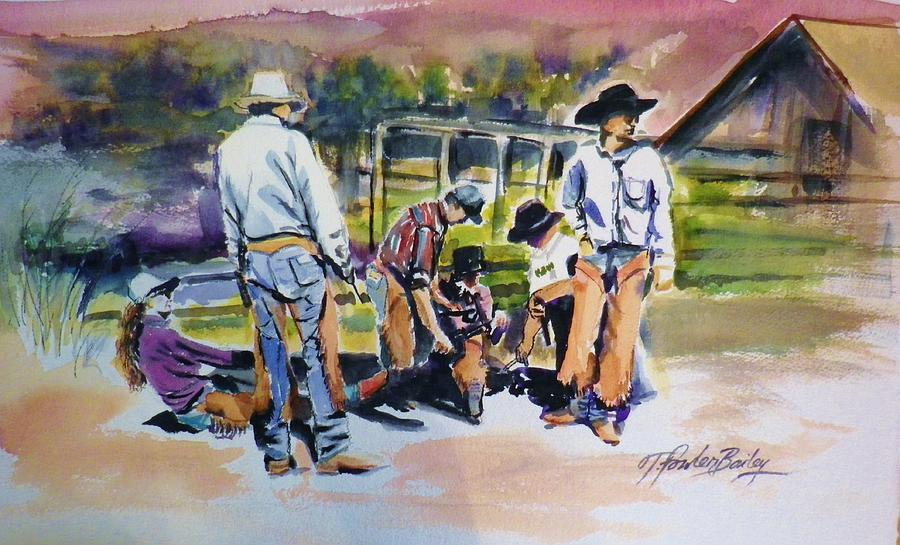 Branding Painting - Spring Branding At 5 Dot Ranch by Therese Fowler-Bailey