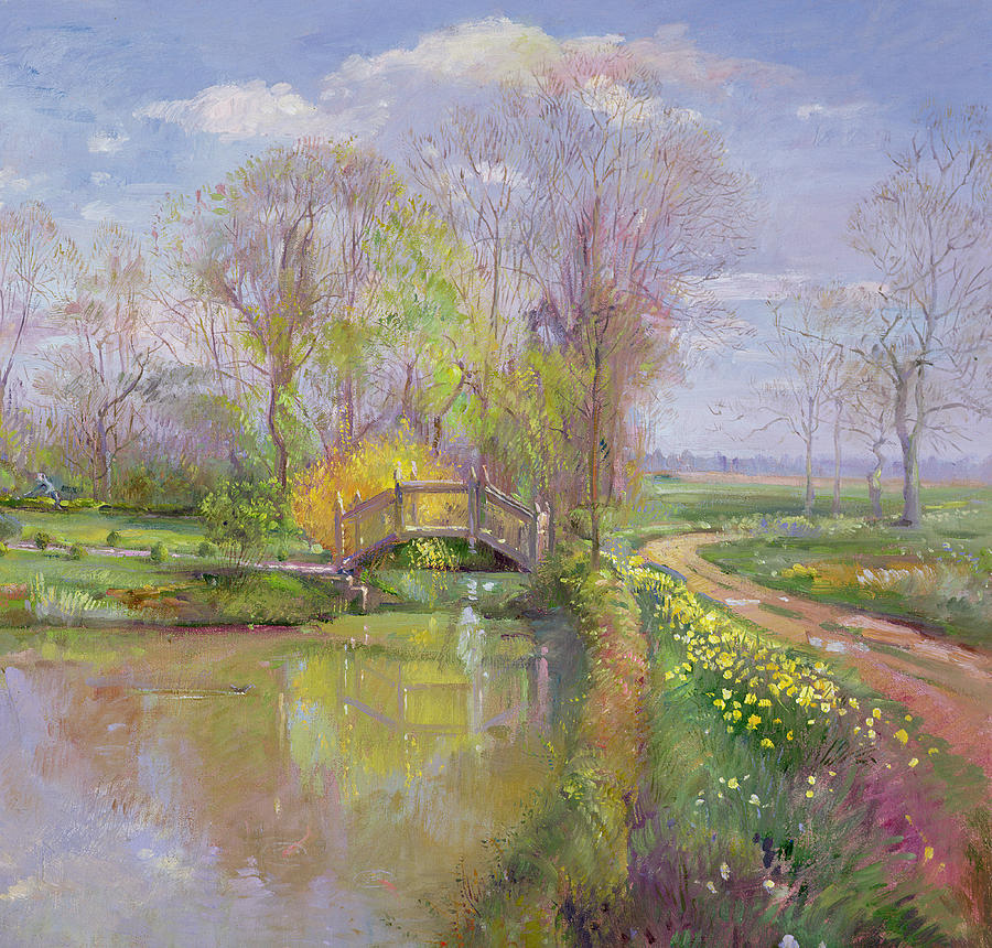 Tree Painting - Spring Bridge by Timothy  Easton