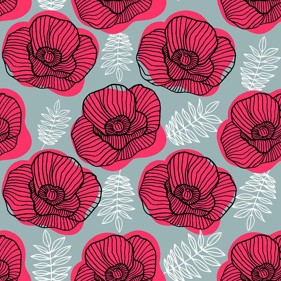 Spring Bright Seamless Floral Pattern Digital Art by Ekaterina Bedoeva
