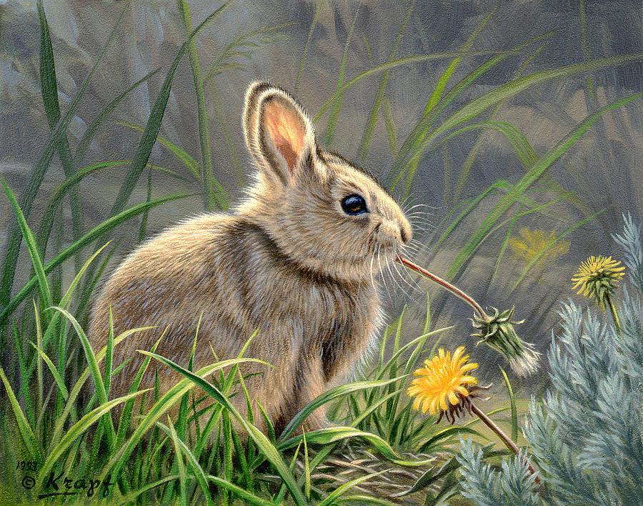 Wildlife Painting - Spring Cottontail by Paul Krapf