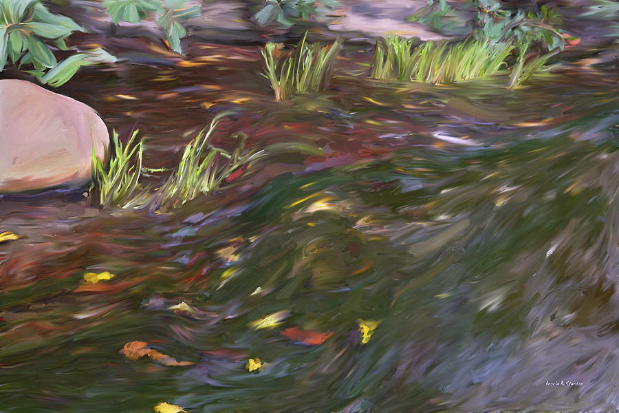Spring Painting - Spring Creek In Oak Canyon Park by Angela A Stanton