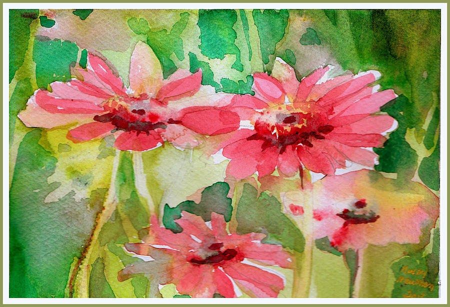 Flowers Painting - Spring Daisies In The Pink by Mindy Newman