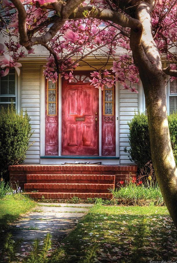 Savad Photograph - Spring - Door - Westfield Nj - Pink by Mike Savad