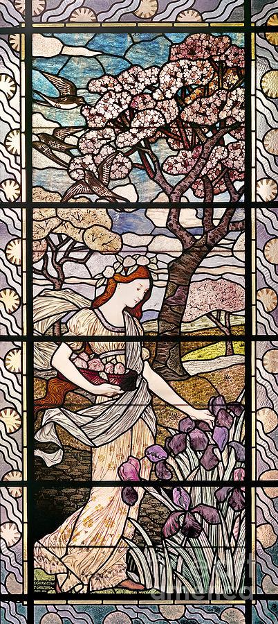 Female Glass Art - Spring by Eugene Grasset