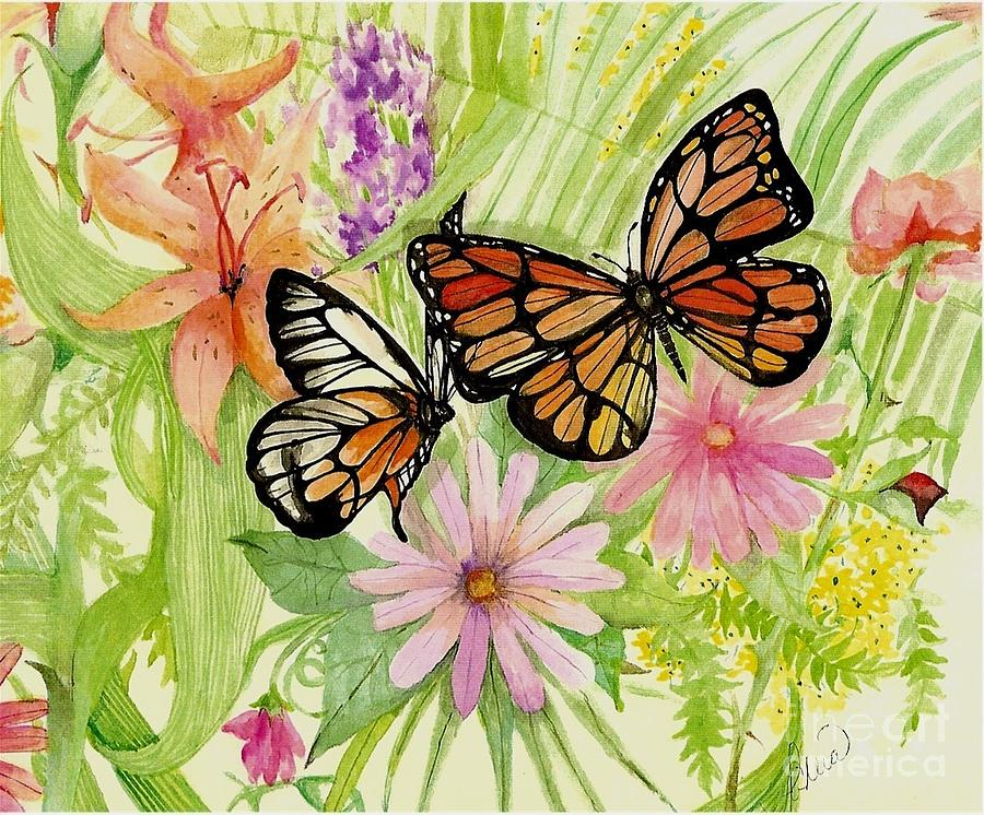 Butterflies Painting - Spring Fancy by Laneea Tolley