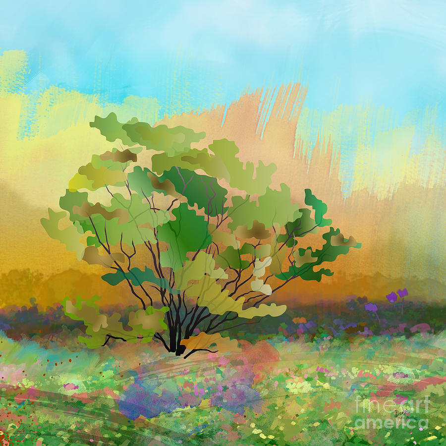 Spring Digital Art - Spring Field by Bedros Awak