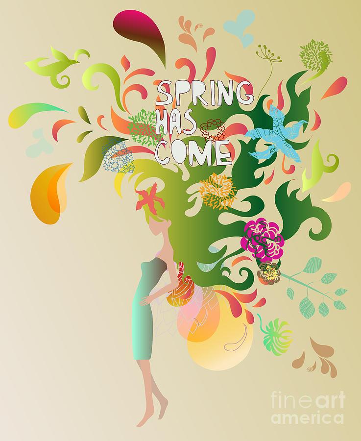 Dress Digital Art - Spring Floral Girl Illustration by Run4it
