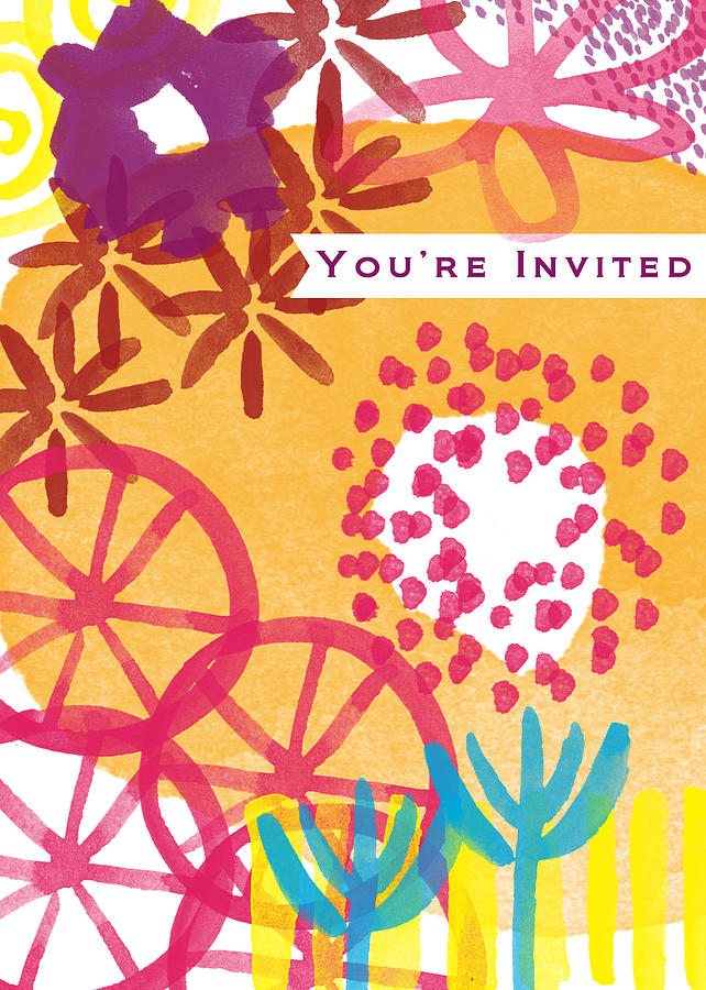Party Invitation Painting - Spring Floral Invitation- Greeting Card by Linda Woods