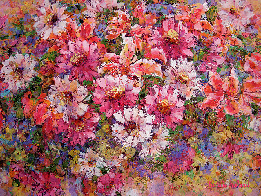 Spring Flower Bouquet Painting by Natalie Holland