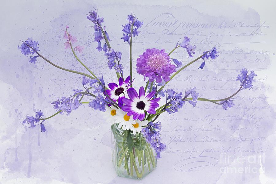Ann Garrett Photograph - Spring Flowers In A Jam Jar by Ann Garrett