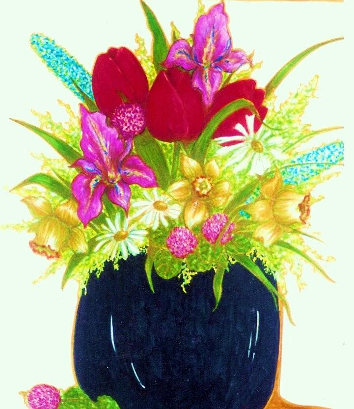 Flowers Drawing - Spring Flowers by Rae Chichilnitsky