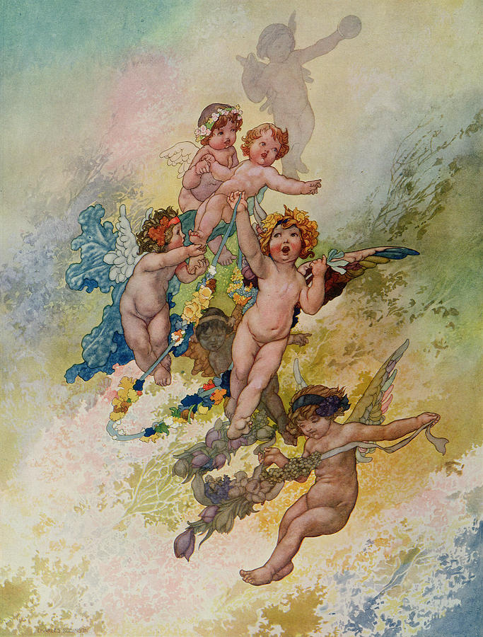 Putti Painting - Spring From The Seasons Commissioned For The 1920 Pears Annual by Charles Robinson