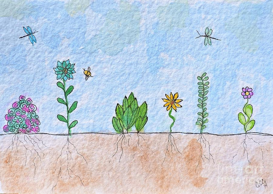 Spring Garden Watercolor by Anne Clark