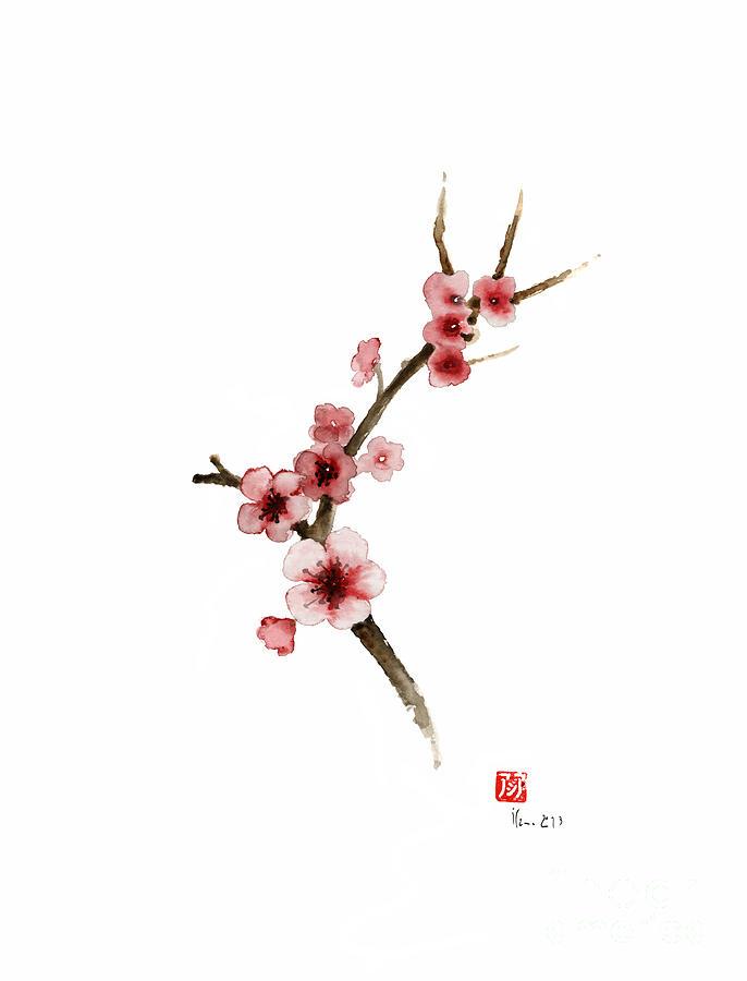 Spring gift flowers pink sakura purple brown bloom from cherry japan painting spring gift flowers pink sakura purple brown bloom from cherry blossom watercolor painting mightylinksfo