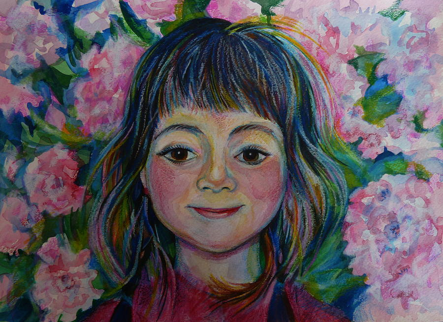 Watercolor Pencils Drawing - Spring Girls. Part One by Anna  Duyunova