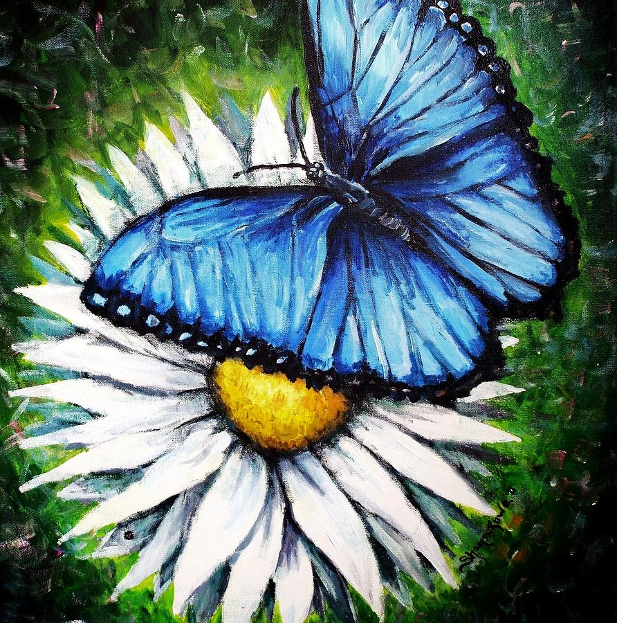 Blue Butterfly Painting - Spring Has Sprung by Shana Rowe Jackson