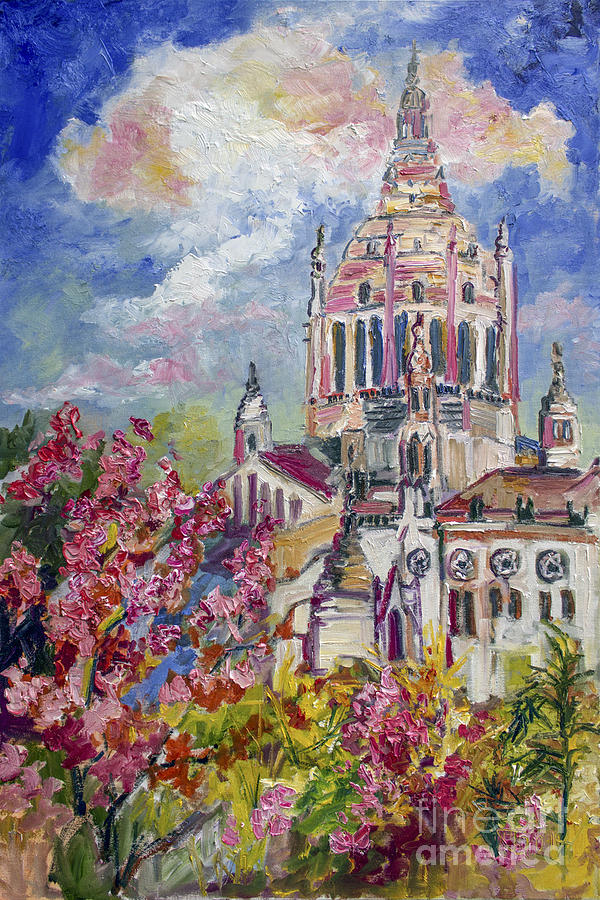 Spring in Normandy France Basilica of St. Therese of Lisieux  Painting by Ginette Callaway