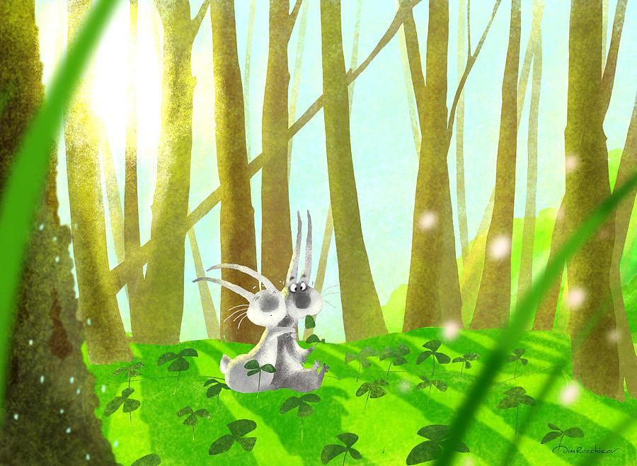 Hares Digital Art - Spring in the forest by Dmitry Rezchikov