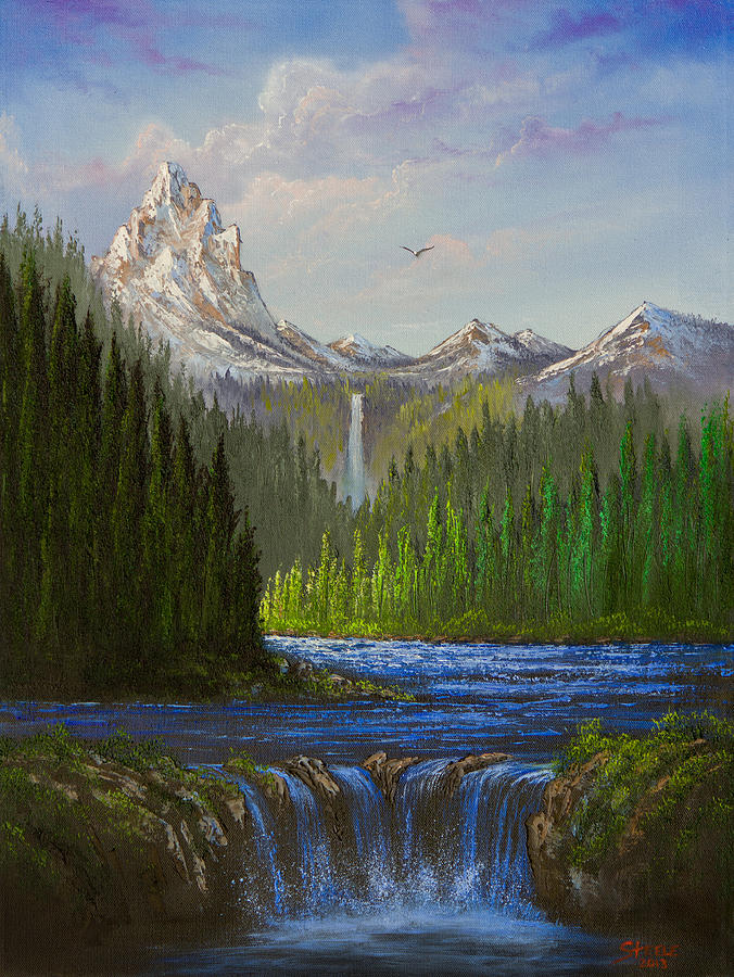 Landscape Painting - Spring In The Rockies by C Steele