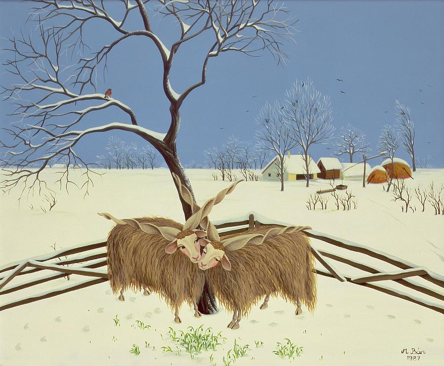 Goats Painting - Spring In Winter by Magdolna Ban