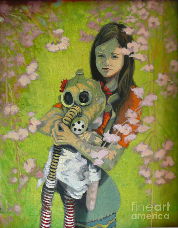 Gas Mask Painting - Spring by Linda Guenste