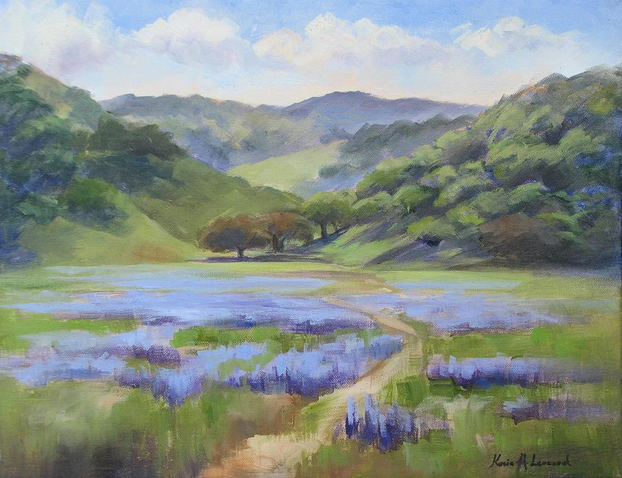 Lupine Painting - Spring Lupine by Karin  Leonard