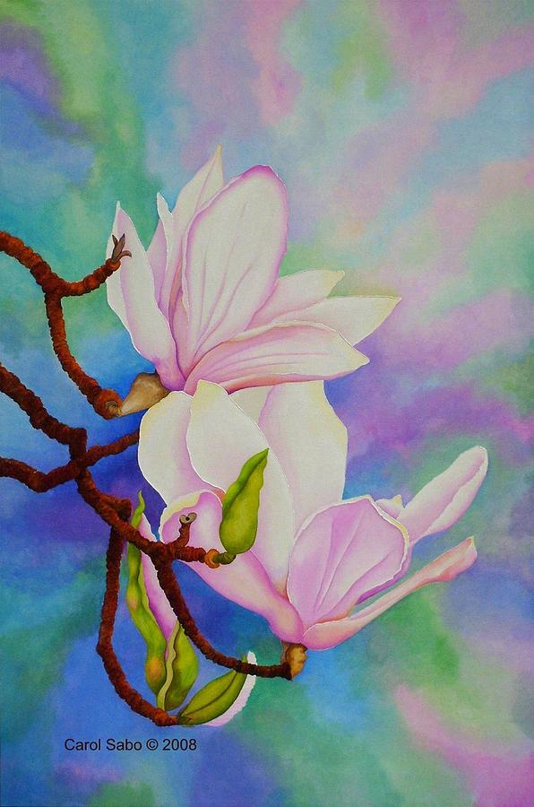 Pastels Painting - Spring Magnolia by Carol Sabo