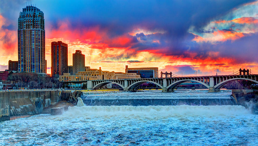 Saint Anthony Falls Photograph - Spring Melt On The Mississippi by Amanda Stadther