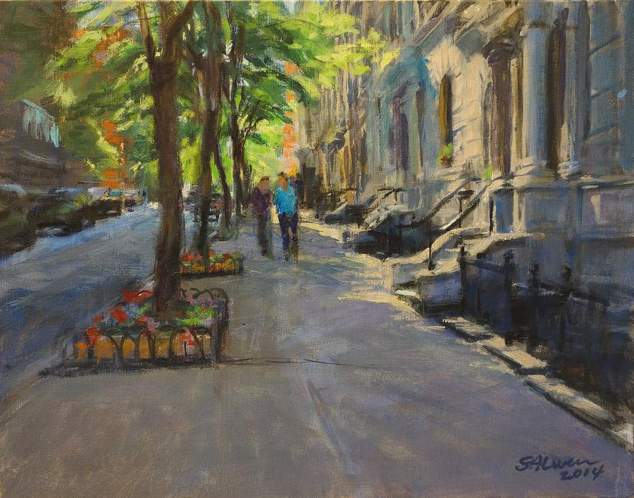 Landscape Painting - Spring Morning On West 85th Street by Peter Salwen