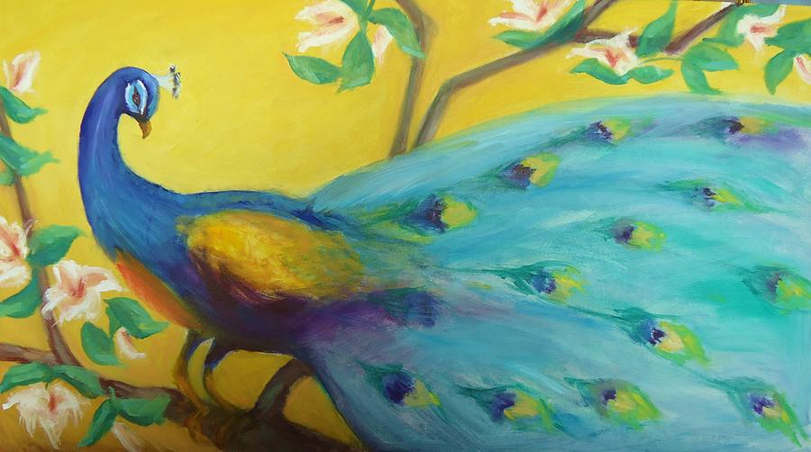 Spring Peacock Painting by Gwen Carroll