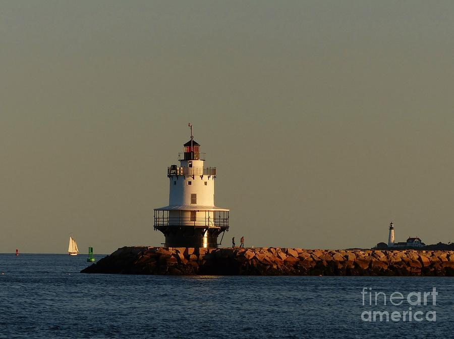 Spring Point Photograph - Spring Point Ledge Lighthouse In South Portland Maine With Schooner And Portland Headlight by Christine Stack