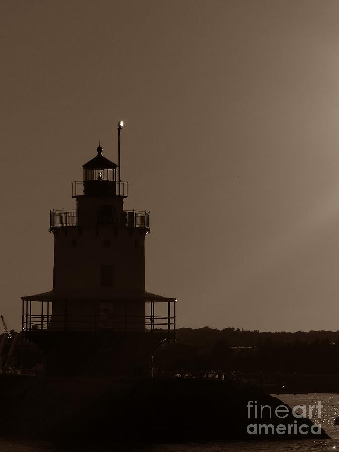 Spring Point Photograph - Spring Point Ledge Lighthouse Silhouette In South Portland Maine by Christine Stack