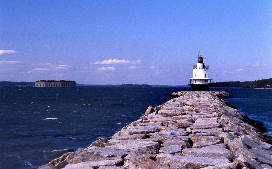 Spring Point Ledge Photograph - Spring Point Ledge Lighthouse by Skip Willits